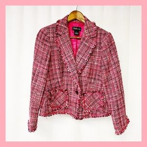 Pink Tweed & Fringe Blazer  size 6